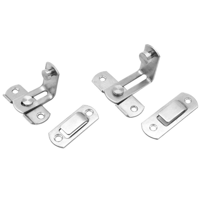 90 Degree Stainless Steel Sliding Door Chain Lock Cabinet Latch Catch Clasp Countersunk Head Screw Hole Design