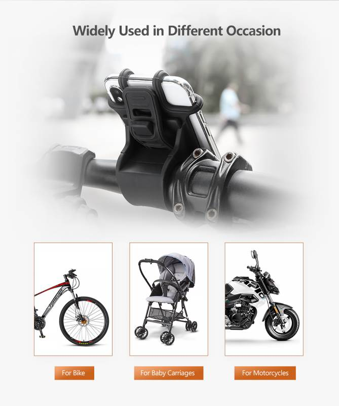High Quality Silicone Bicycle Phone Holder For iPhone Universal Motorcycle Bike Stand GPS Bracket For 4.0-6.3inch Mobile Phone 3