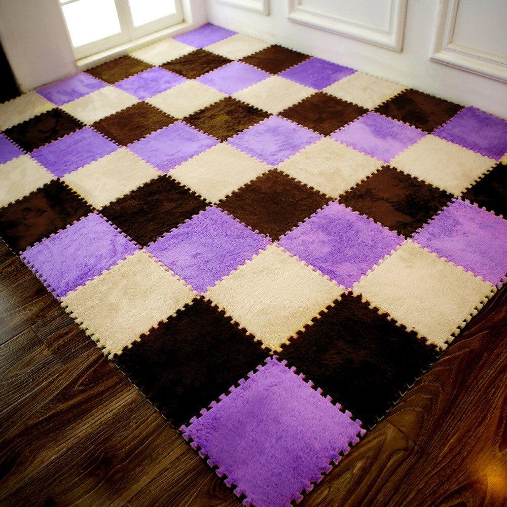H0eee2fee8ad54d6eb85c8b6dc1aa48d5O Play Mats 25X25cm Kids Carpet Foam Puzzle Mat EVA Shaggy Velvet Baby Eco Floor 7 colors 10.30