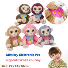 Cute Mimicry Pet Talking Monkey Repeats What You Say Electronic Plush Toy Educational Plush animals Toy Kids Accompany Xmas Gift(China)