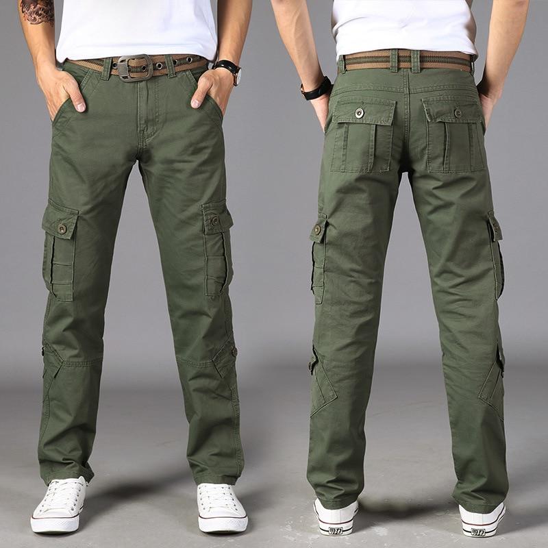 Military Cargo Pants Men Outwear Multi-pockets Baggy Men Pants Cotton Casual Army Trousers Work Joggers Men Size 28-42