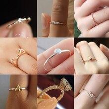 Octbyna простые Кристальные кольца на кончики пальцев рук для женщин Романтические Свадебные обручальные вечерние кольца для женщин ювелирные изделия Прямая поставка