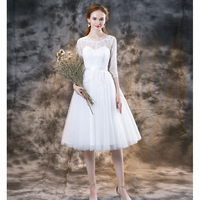 Garden Style 2020 Summer Short Wedding Dresses Soft tulle with Lace Bridal Gowns Zipper Back
