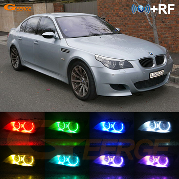 For BMW E60 E61 M5 520i 525i 530i 540i 545i 550i Pre LCI 2003-2007 RF remote Bluetooth APP Multi-Color RGB led angel eyes