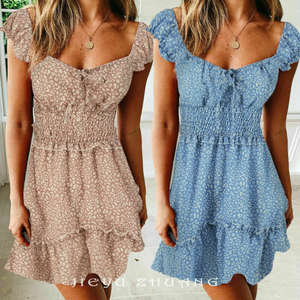 Casual Dress Short-Sleeve Boho Floral Ruffles Summer Square Neck Above Slim Sexy