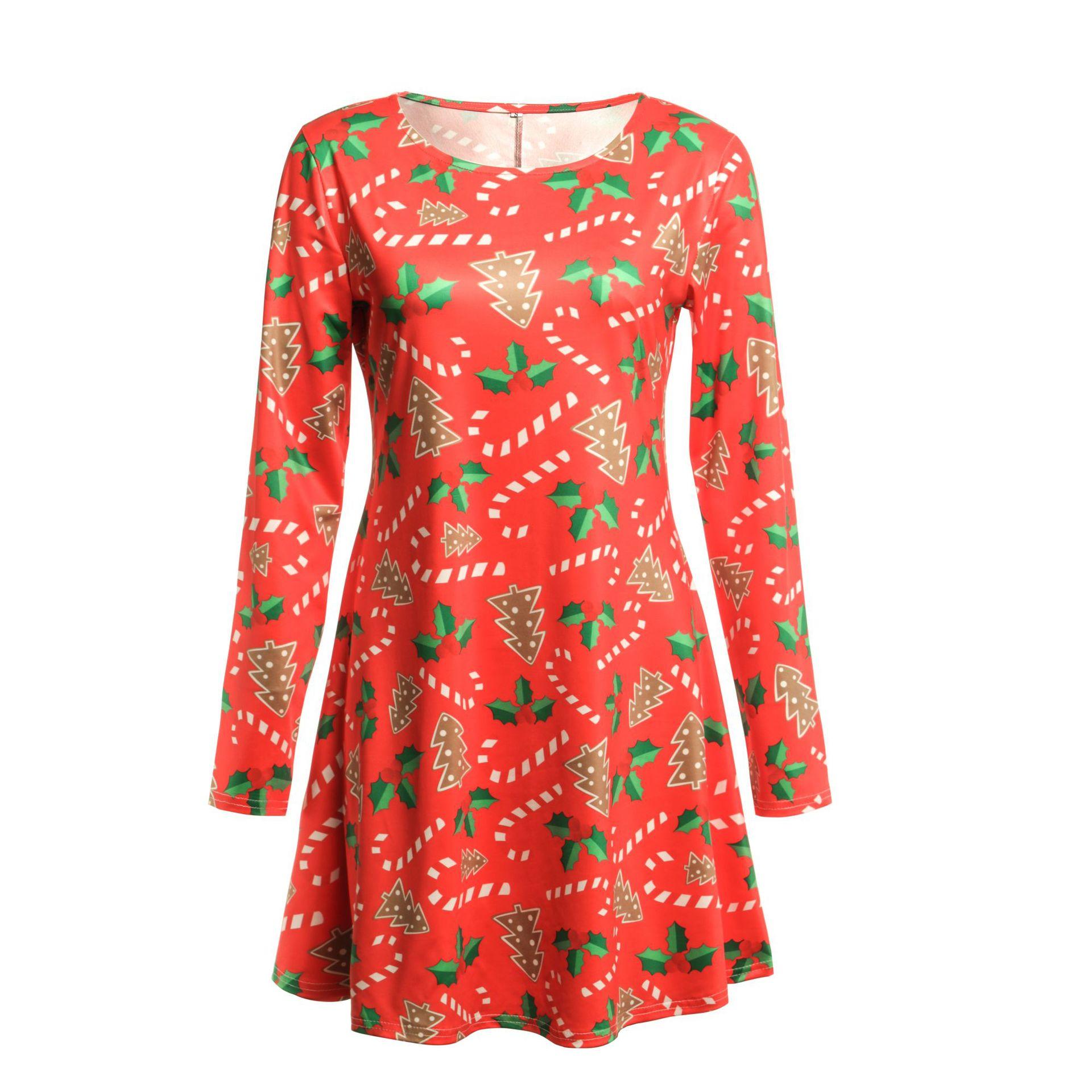 Print Long Sleeve Autumn Winter Christmas Dress Women 19 Casual Loose Short Party Dress Plus Size S-5XL Vestidos 11