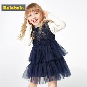 Image 1 - Balabala Mädchen kleider 2020 neue herbst und winter kleidung kinder prinzessin kleid casual kleid pullover rock
