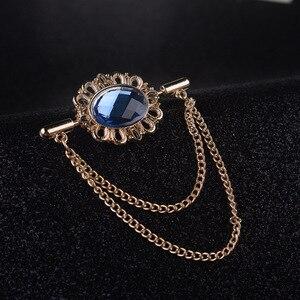 I-Remiel Новая Винтажная брошь с овальным воротником, украшенная кисточками и кристаллами, с пряжкой на цепочке для женщин и мужчин, нагрудный к...