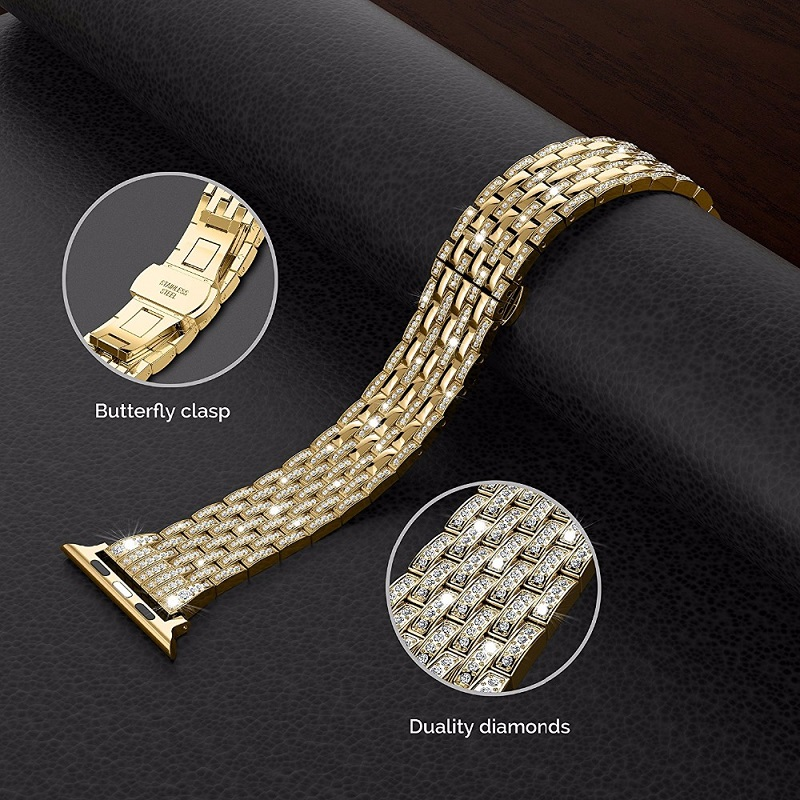 series 5/4/3/2/1 Rhinestone Diamond Bands Stainless Steel Strap for Apple Watch Bands 38mm/40/42mm/44mm for iwatch Link Bracelet   Watchbands