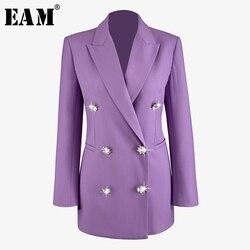 Женский двубортный Блейзер EAM, фиолетовый свободный блейзер с длинным рукавом и отворотом, весна-осень 2020