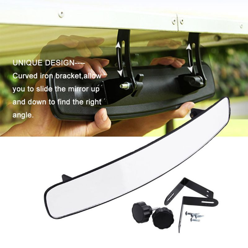 16.5inch Wide Rear View Convex Golf Cart Mirror Fit for Ez Go Club Car Panoramic