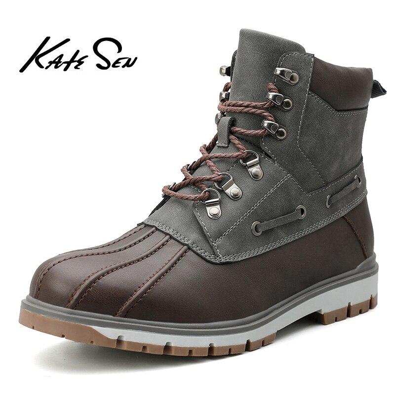 KATESEN MEN Boots Classic Duck Boots With Waterproof Rubber Sole MEN Rain Boots Lace Up Ankle Shoes Fur Winter Leather MEN Shoes