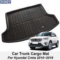 Car Boot Mat Rear Trunk Liner Cargo Floor Tray Sticker Cover For Hyundai Creta ix25 2015- 2019 Carpet Kick Protector Styling