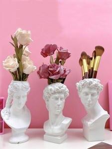 Vase Pen-Holder Sculpture Flower-Pot Makeup-Brush Home-Decoration Model Sketch Resin