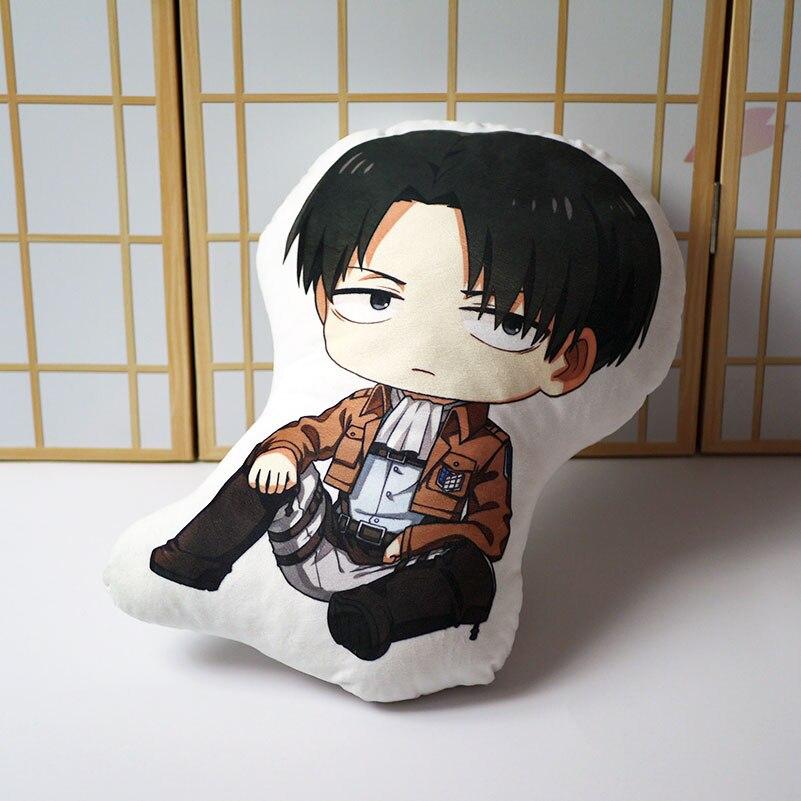Attack On Titan Pillow Toy Anime Levi Ackerman Short Plush Stuffed Doll Double Sided Pillowcase 48cm For Gift