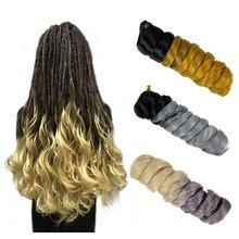Yxcheris sintético de duas cores crochê cabelo ombre trança cabelo grande onda encaracolado caixa mista trança malha extensão do cabelo 22 polegadas