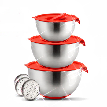 Mixing Bowls Stainless Steel Non-Slip DIY Cake Bread Salad Mixer Kitchen Baking Cooking Tool with Cover Grater Food Container