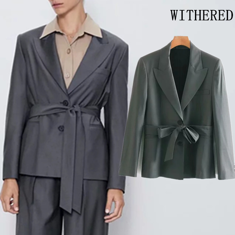 Withered England Office Lady Sashes Notched Solid Blazer Feminino Blazer Women Blazer Mujer 2019 Women Blazers And Jackets Tops