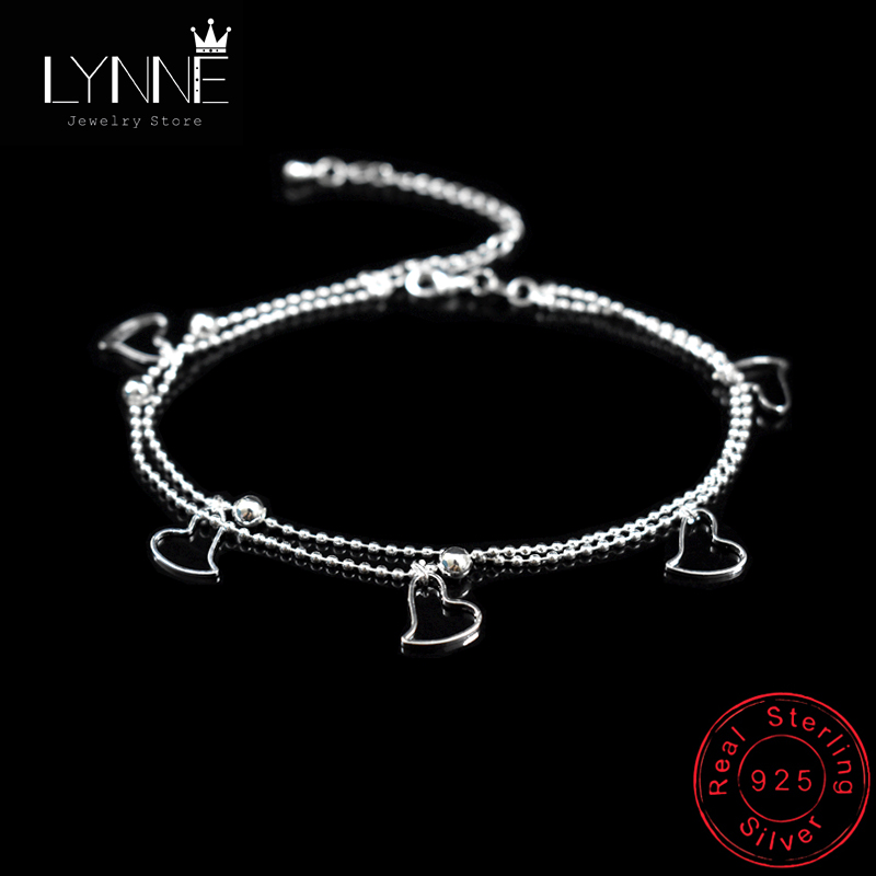 New Fashion 925 Sterling Silver Heart Pendant Anklets Women Jewelry Double Layer Small Bead Star Charm Beach Foot Chain Bracelet