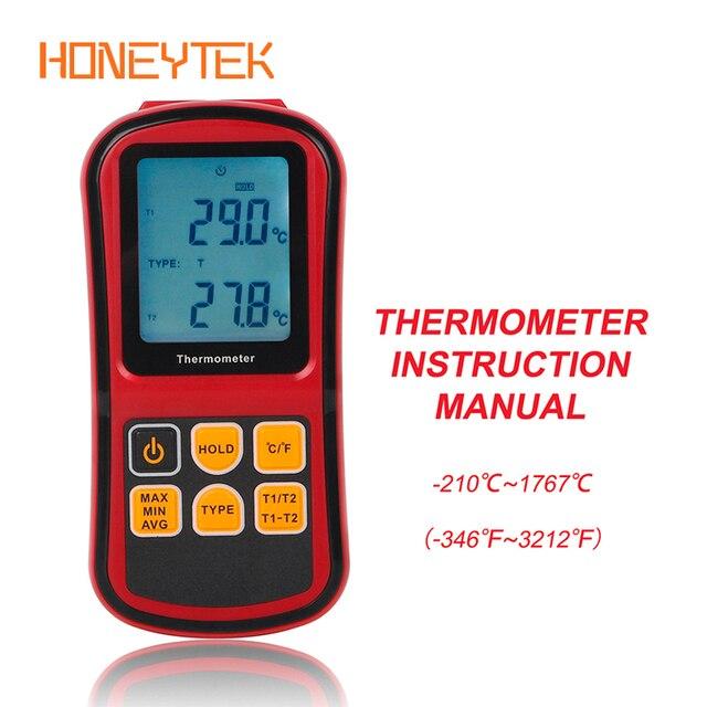 GM1312 Dual channel Digital Temperature Meter Professional thermometer Digital Measure High Precision Temperature Meter Tester