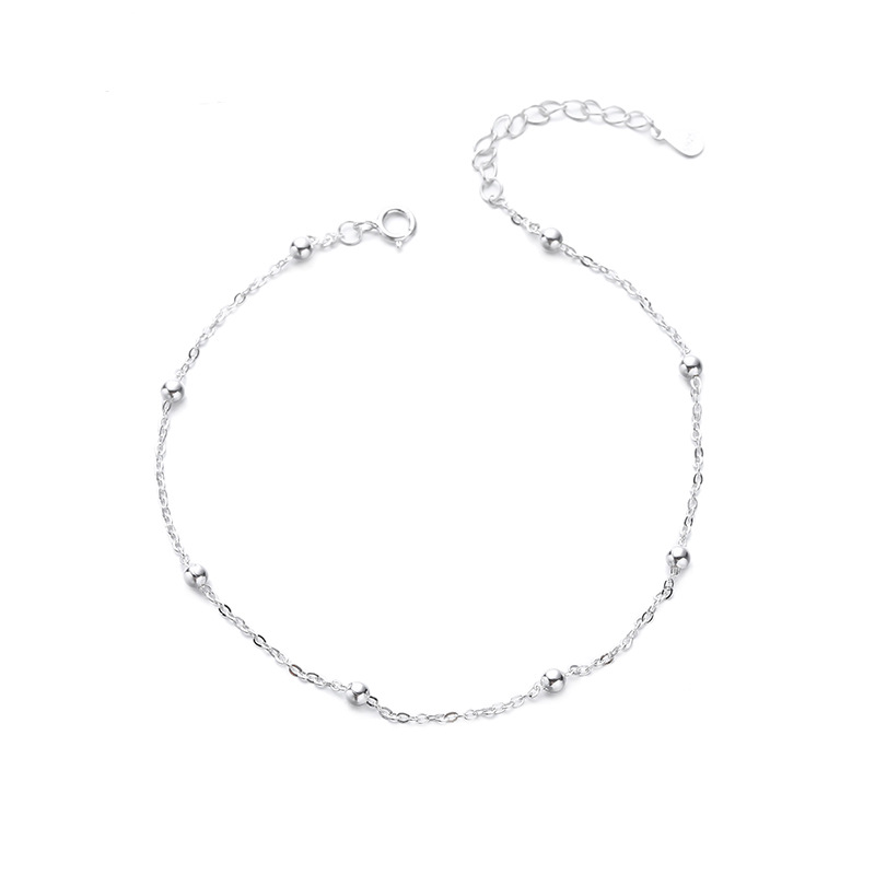 Summer Fashion 925 Sterling Silver Chain Anklets For Women Beach Party Beads Ankle Jewelry Girl Best Gifts