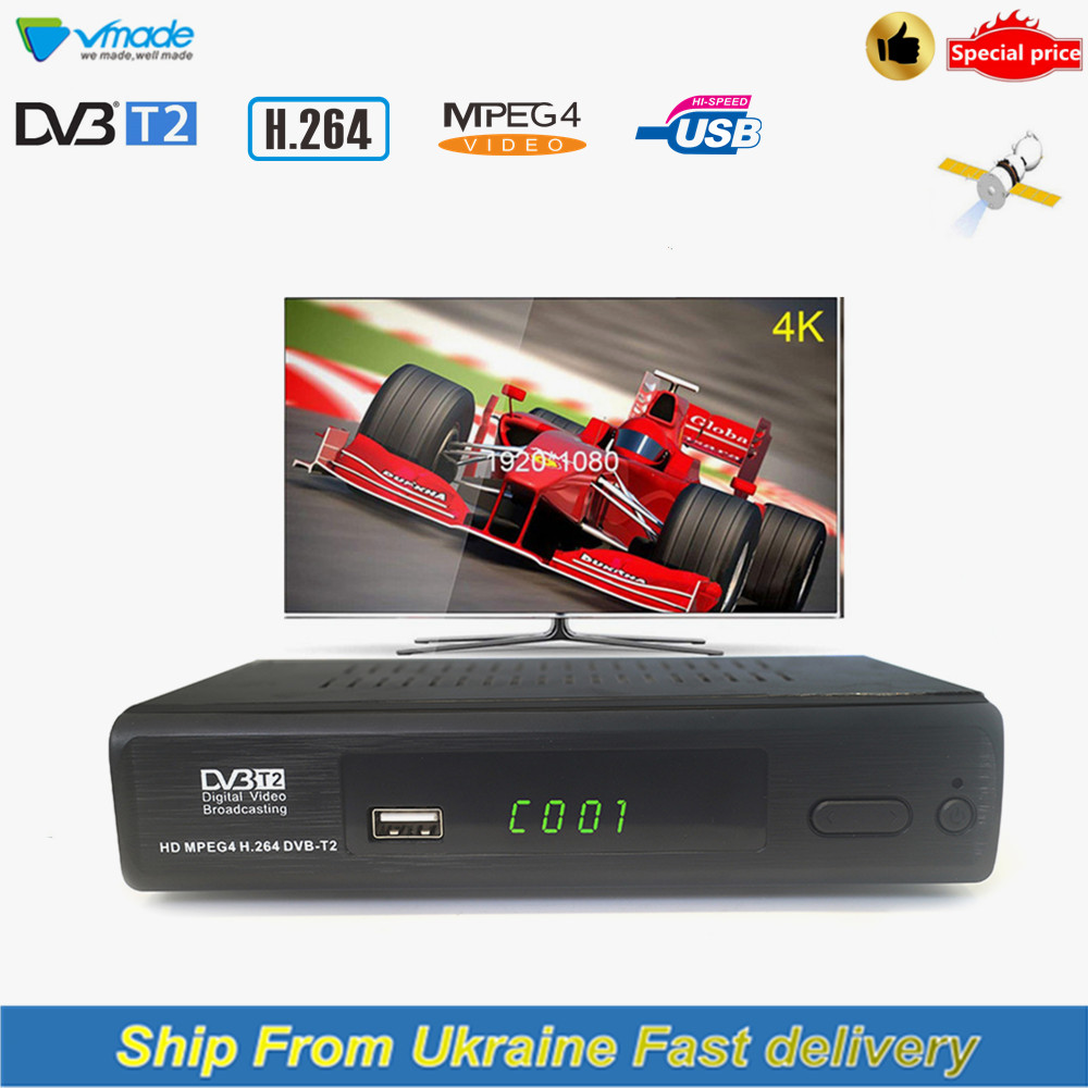 Vmade DVB-T2 M2 HD H.264 MPEG4 Digital Terrestrial TV Receiver Fully 1080P DVB-T Support Youtube USB Interface Ship From Ukraine