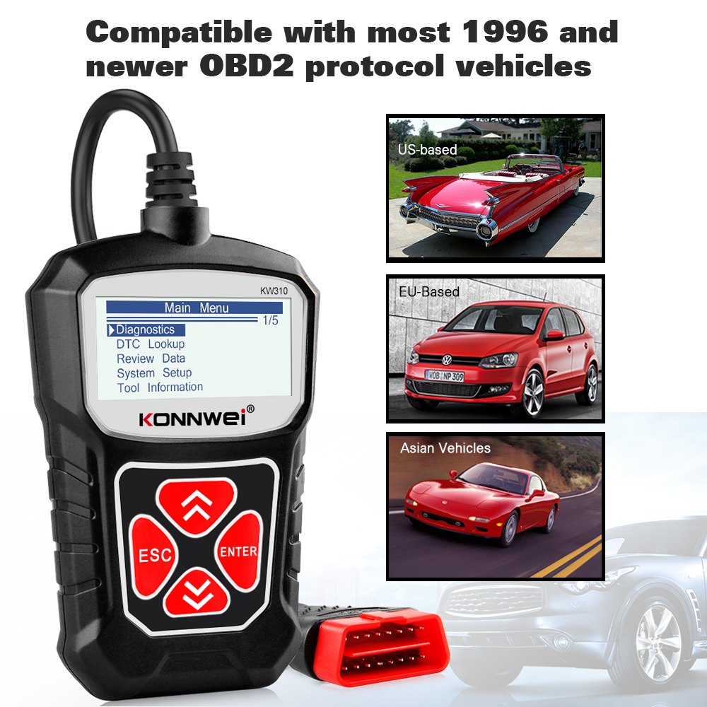 lowest price KONNWEI KW310 OBD2 Scanner Professional Automotive Code Reader Full OBD2 Scanner Multi-languages Auto Diagnostic Scan Tool