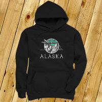 ALASKA MOUNTAINS WINTER SNOW AIRPLANE TRAVEL SOAR Mens Navy Hoodie