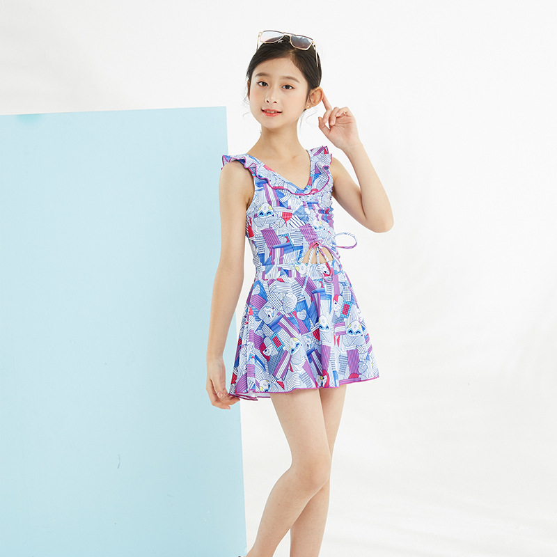 KID'S Swimwear Girls Korean-style One-piece Princess Dress-Tour Bathing Suit Big Boy GIRL'S Students Bubble Hot Spring Swimwear