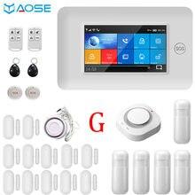 Yaose 4.3 polegada tela sensível ao toque completo sem fio wifi gsm sistema de alarme segurança em casa com detector fumaça kits botão sos