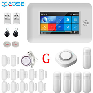 YAOSE 4.3inch Full Touch Screen Wireless WIFI GSM Home Security Alarm System With Smoke Detector SOS Button Kits