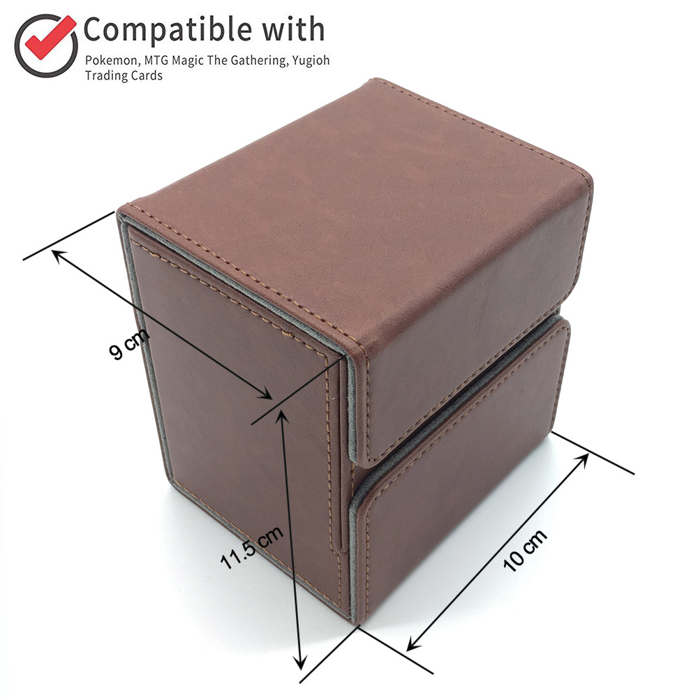 Magic Pokemon/YuGiOh Trading Card Deck Case for Magic/Pokemon/YuGiOh Trading Card mtg Deck Box: Brown image