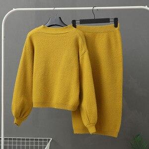 Image 2 - Genayooa Conjunto de dos piezas de punto para mujer, conjunto de 2 piezas, suéter, traje Vintage de manga larga, cárdigan, Falda Midi, 2020