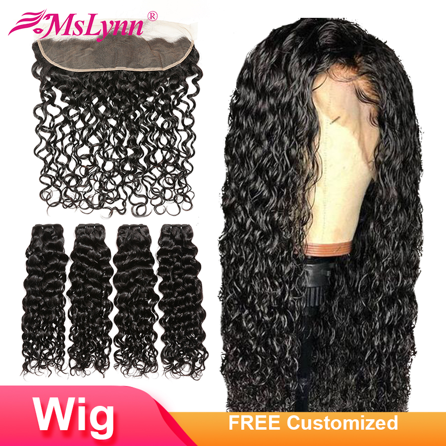 4x13 Lace Frontal Human Hair Wigs Brazilian Water Wave Bundles With Closure Frontal Free Customized Wig 300% Density Mslynn Remy