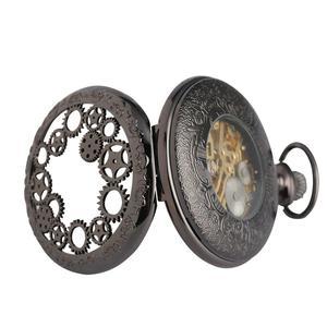 Image 3 - הגעה חדשה מעולה הילוך גלגל חלול שעון כיס מכאני Fob שעונים יד רוח מכירה לוהטת גברים נשים מתנה עם שרשרת שעון