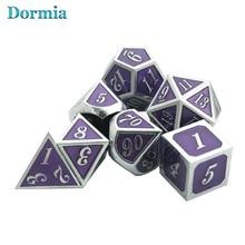 Новинка, 7 шт., цинковый сплав, многогранный, Italics, шрифт, металлические кости D4 - D20 для DND RPG, карточная игра, с сумкой из искусственной кожи