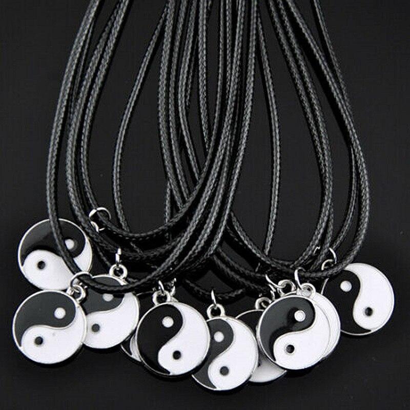 Lote 10 pçs moda taoism tai chi yin yang pingente colar atacado hj08