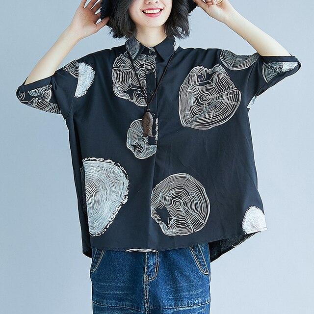 Women Plus Size Shirt Ladies Casual Printed Loose Blouse Tops Female 2019 Summer Shirt 1