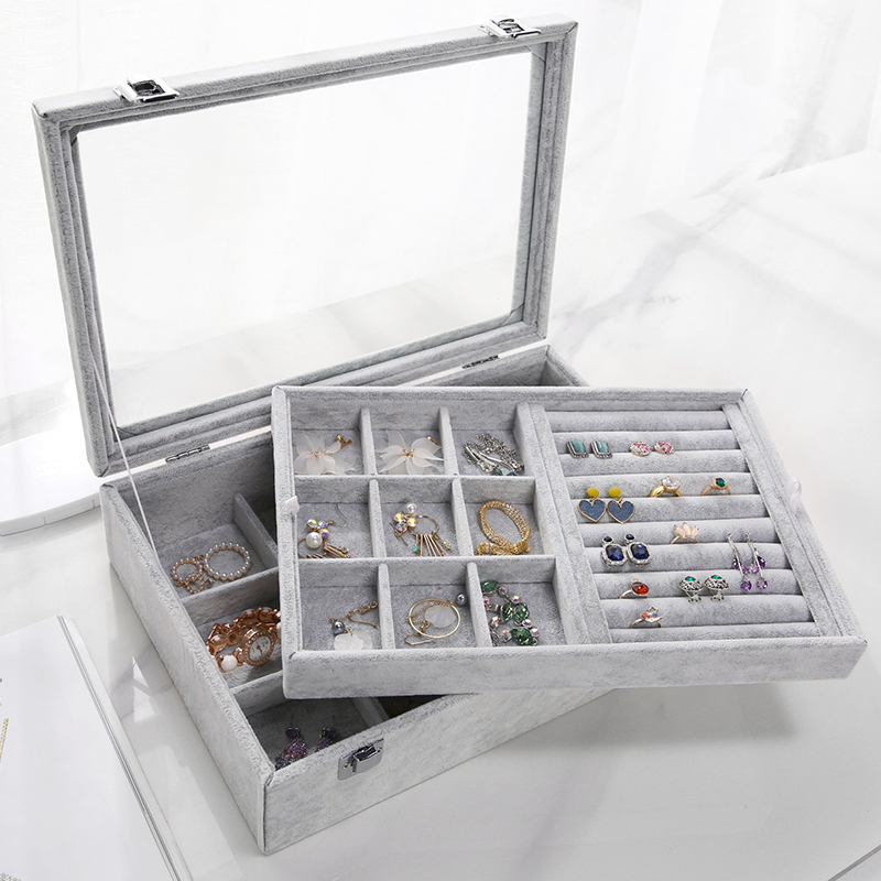 Double Flannel Jewerly Box Organizer Stackable Bead Storage