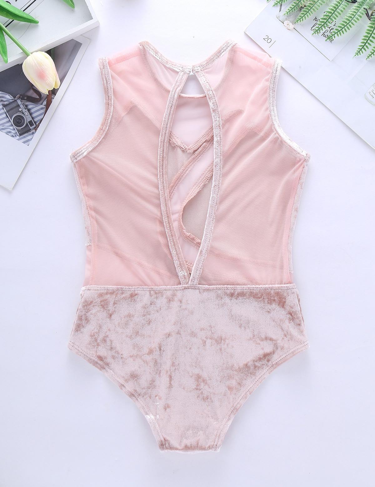 Iefiel для детей для девочек; комплект одежды из плюша и вырезом на спине одежда для бальных танцев гимнастическое трико современный танцевальный костюм боди для танцевального конкурса