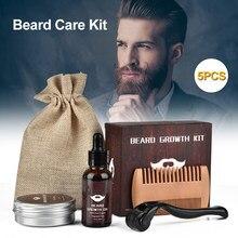Kit de croissance de Barbe, 5 pièces/Kit, rehausseur de cheveux, huile essentielle nourrissante pour Barbe, soins du visage, rouleau de croissance de Barbe