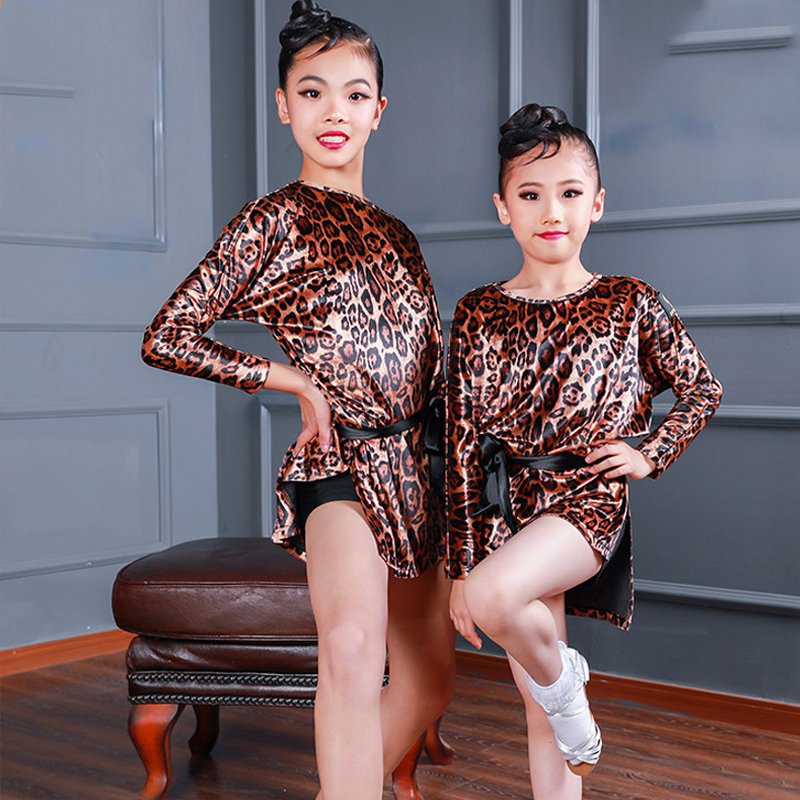 New Girl Leopard Dance Dress Latin Dress Children Dance Wear For Performance Clothing Kids Rumba Dance Costume Long Sleeve Dress