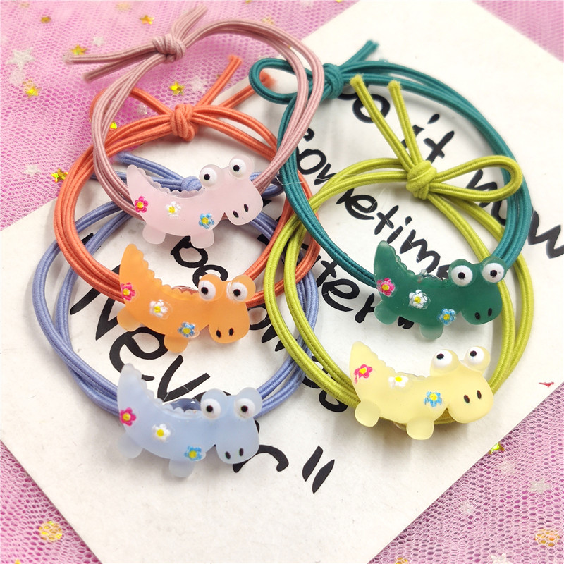 5PCS Lovely Dinosaur Elastic Hair Bands Toys For Girls Handmade Bow Headband Scrunchy Kids Hair Accessories For Womens