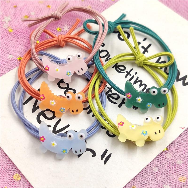 5PCS Lovely Dinosaur Elastic Hair Bands Toys For Girls Handmade Bow Headband Scrunchy Kids Hair Accessories For Womens
