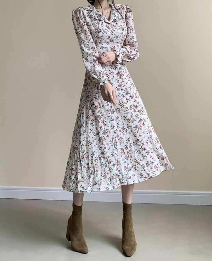 H0ef15dcc02ce439aa85aceccc235d6d57 - Autumn Revers Collar Long Sleeves Floral Print Midi Dress