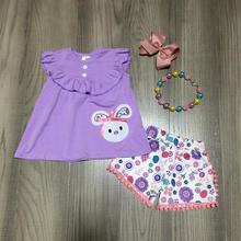 Frühjahr/sommer Ostern lavendel bunny top blume pom pom shorts baby mädchen kleidung baumwolle rüschen boutique set spiel zubehör