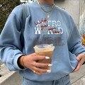 Женская толстовка с капюшоном, модная Толстовка большого размера, Женский пуловер в стиле Харадзюку с круглым вырезом и длинным рукавом, то...