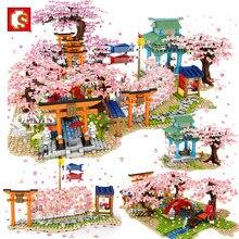 Sembo cidade criativa japonês flor de cerejeira sakura árvore modelo mini rua blocos de construção moc crianças brinquedos para meninos crianças presente