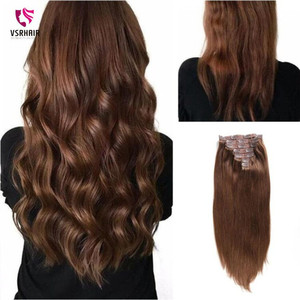 Image 2 - VSR 180g 200g 220g 24Inch Machine Remy Clip Hair Silky Double Drawn Thick Hair Bottom 7Pieces/Set Clip In Human Hair Extension