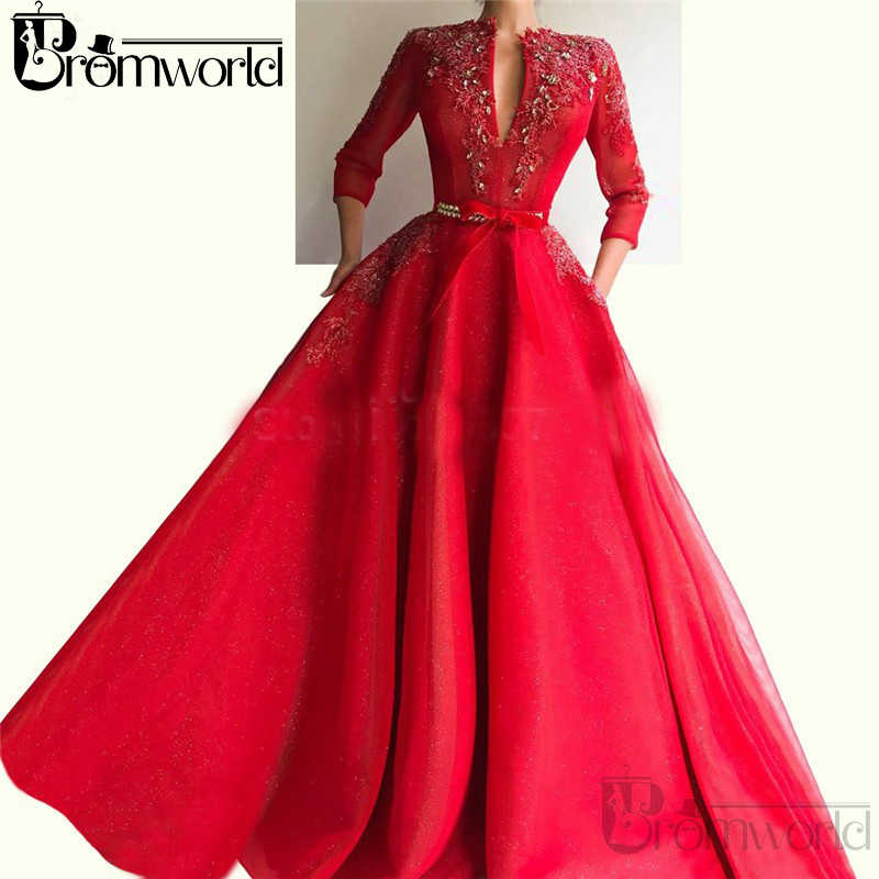 Rode V-hals Drie Kwart Pocket Kraal Moslim Avondjurk Abendkleider Islamitische Dubai Kaftan Saudi Arabische Avondjurk Prom Dress